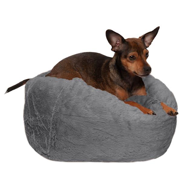 "FurHaven Gray Mist Round Plush Ball Pet Bed, 14.2"" L X 14.2"" W X 18"" D - Carousel image #1"