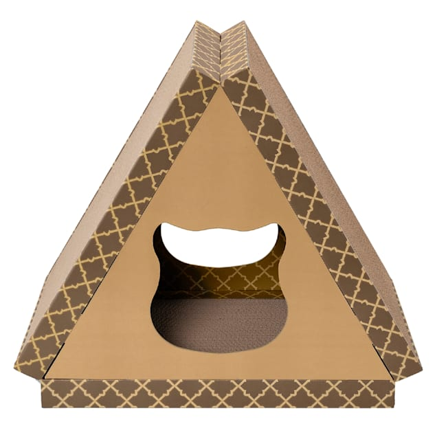 """FurHaven Tan Tiger Tent Corrugated Scratcher House with Catnip for Cats, 18.5"""" H - Carousel image #1"""