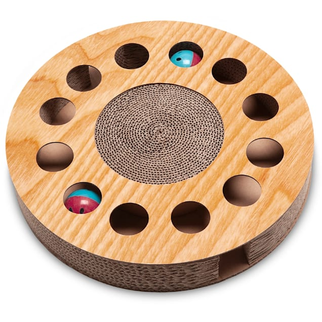 """FurHaven Round Busy Box Corrugated Cat Scratcher with Catnip and 2 Ring Balls, 2.17"""" H - Carousel image #1"""