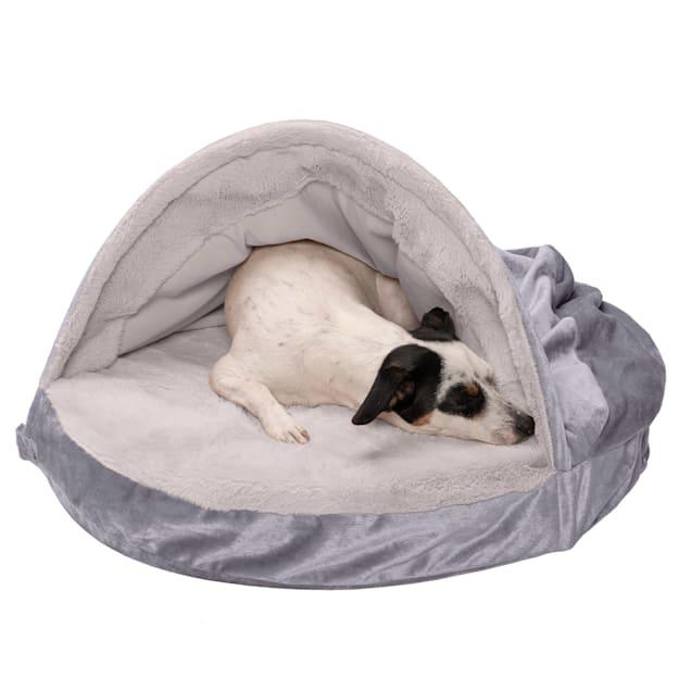 "FurHaven Dark Gray Wave Fur & Velvet Snuggery Orthopedic Pet Bed, 26"" L X 26"" W X 3"" H - Carousel image #1"