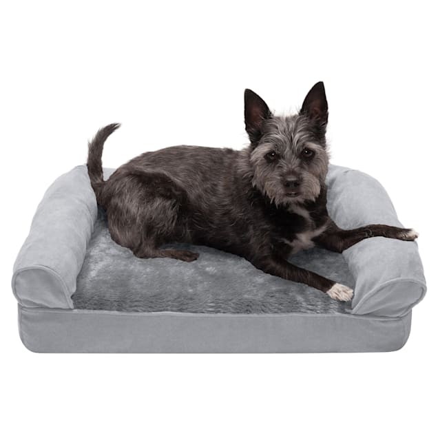 """FurHaven Gray Plush & Suede Full Support Sofa Pet Bed, 20"""" L X 15"""" W X 5.5"""" H - Carousel image #1"""