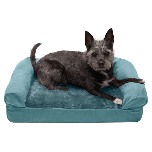 """FurHaven Deep Pool Plush & Suede Full Support Sofa Pet Bed, 20"""" L X 15"""" W X 5.5"""" H - Carousel image #1"""