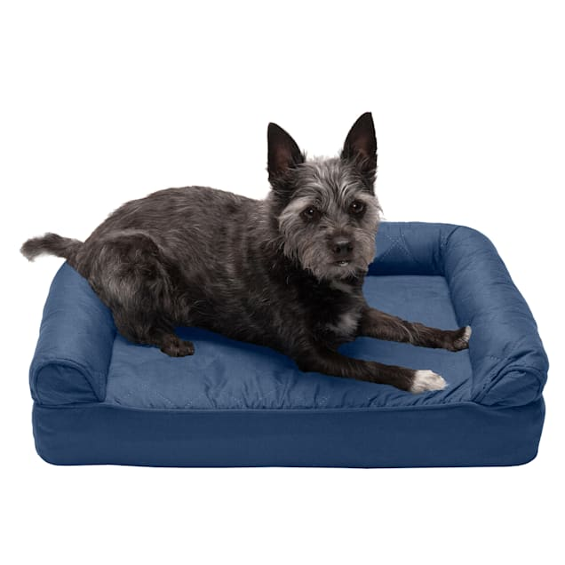"""FurHaven Navy Quilted Full Support Sofa Pet Bed, 20"""" L X 15"""" W X 5.5"""" H - Carousel image #1"""