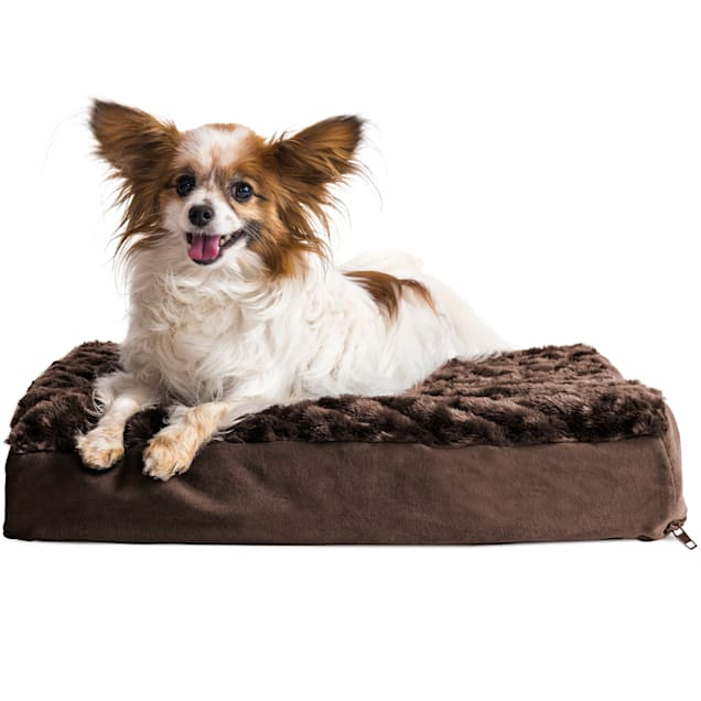 """FurHaven Chocolate Ultra Plush Deluxe Orthopedic Pet Bed, 20"""" L X 15"""" W X 3"""" H - Carousel image #1"""