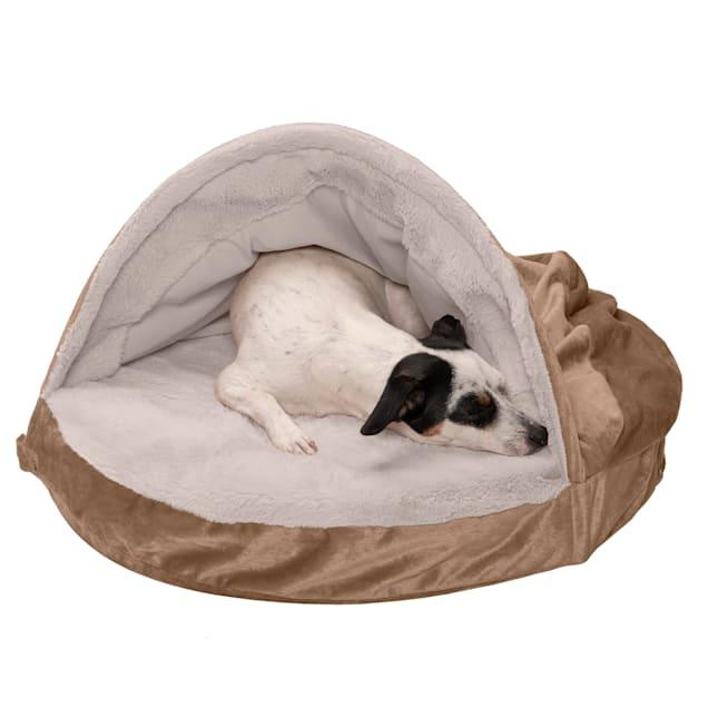 "FurHaven Brownstone Wave Fur & Velvet Snuggery Orthopedic Pet Bed, 26"" L X 26"" W X 3"" H - Carousel image #1"