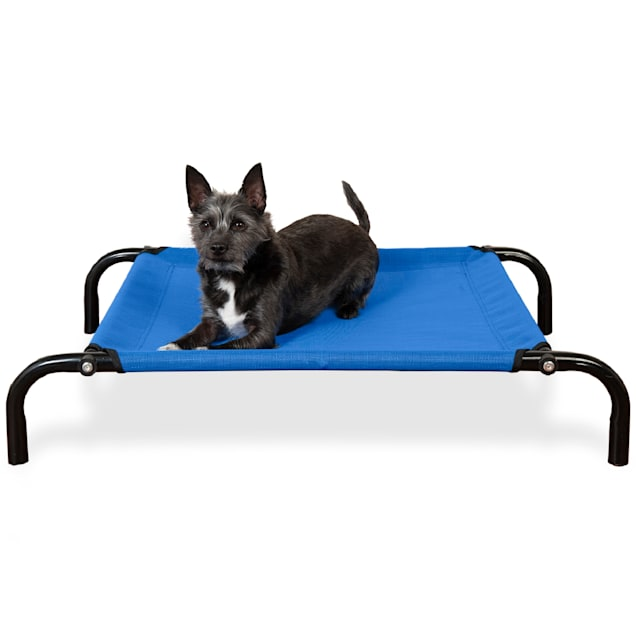 """FurHaven Deep Blue Elevated Reinforced Pet Cot Bed, 31.5"""" L X 22.25"""" W X 6"""" H - Carousel image #1"""