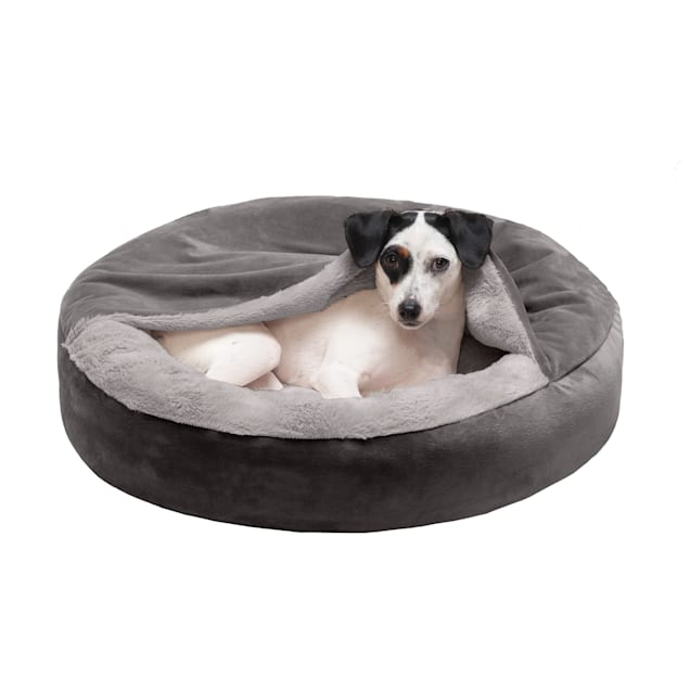 "FurHaven Silver Gray Velvet & Wave Fur Hooded Donut for Dogs, 24"" L X 24"" W X 7"" H - Carousel image #1"