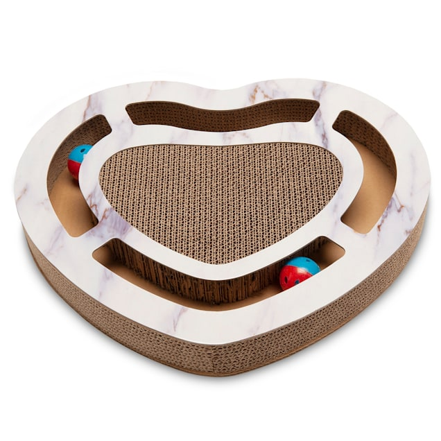 """FurHaven Heart-Shape Corrugated Cat Scratcher with Catnip and 2 Ring Balls, 2.36"""" H - Carousel image #1"""