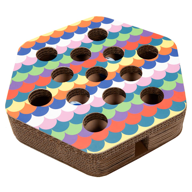 "FurHaven Hexagon Busy Box Cat Scratcher, 3.15"" H - Carousel image #1"