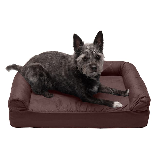 """FurHaven Coffee Quilted Full Support Sofa Pet Bed, 20"""" L X 15"""" W X 5.5"""" H - Carousel image #1"""