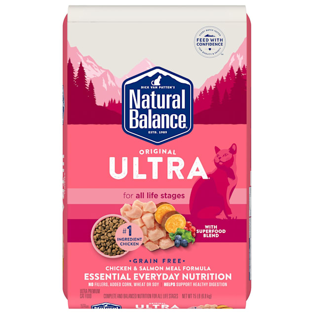 Natural Balance Original Ultra Grain Free Chicken and Salmon Meal Formula Dry Cat Food, 15 lbs. - Carousel image #1