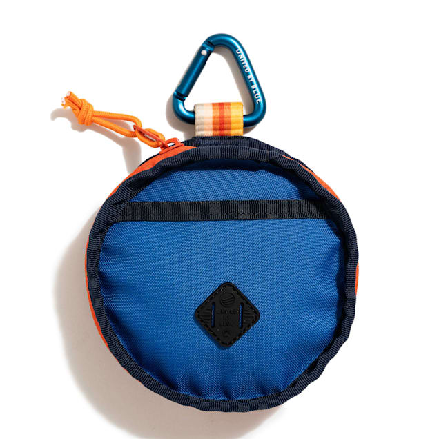 United By Blue Tangerine Stripe Navy/Orange Collapsible Double Dog Bowl - Carousel image #1