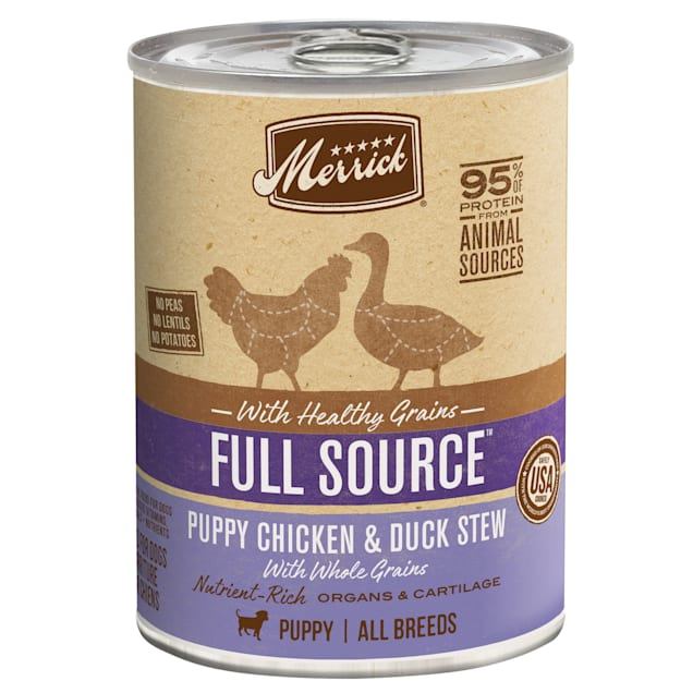 Merrick Full Source Puppy Chicken and Duck Stew with Healthy Grains Canned Food, 12.7 oz., Case of 12 - Carousel image #1
