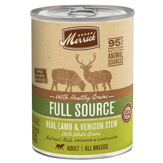 Merrick Full Source Real Lamb and Venison Stew with Healthy Grains Canned Dog Food, 12.7 oz., Case of 12 - Carousel image #1
