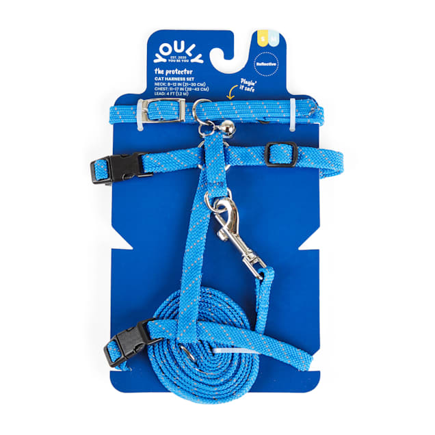 YOULY The Protector Blue Reflective Cat Harness, Collar & Leash Set - Carousel image #1
