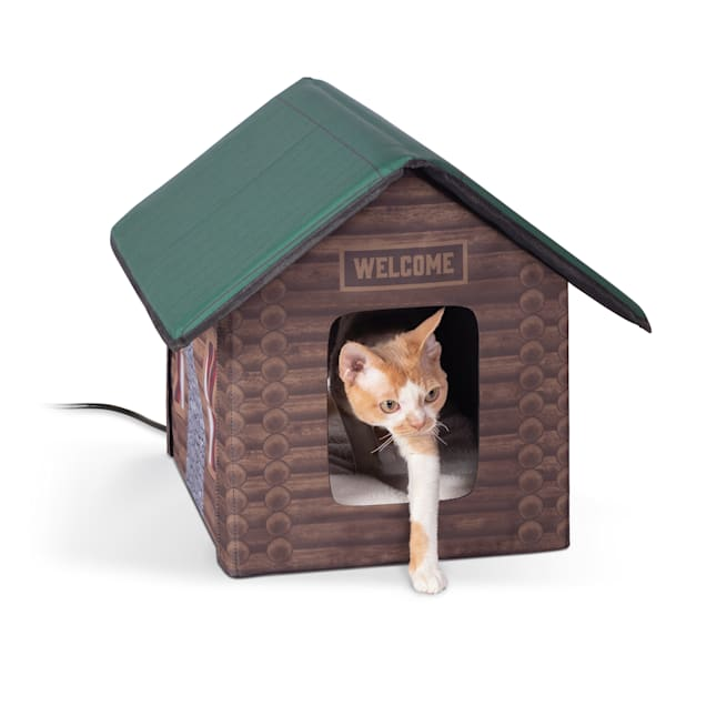 "K&H 20W Heated Outdoor Kitty House Log Cabin Design Cat Bed, 18"" L X 22"" W - Carousel image #1"
