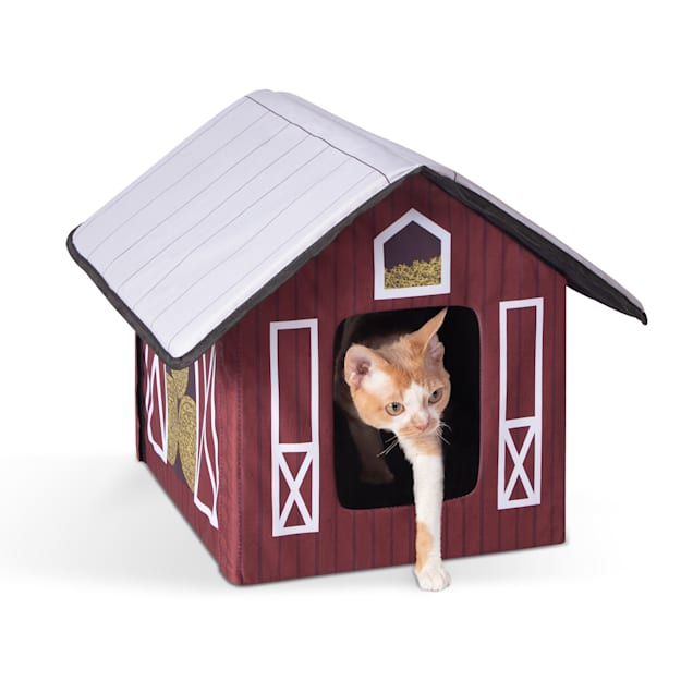 "K&H Unheated Outdoor Kitty House Barn Design Cat Bed, 18"" L X 22"" W - Carousel image #1"