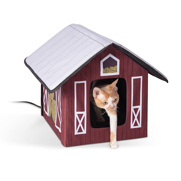 """K&H 20W Heated Outdoor Kitty House Barn Design Cat Bed, 18"""" L X 22"""" W - Carousel image #1"""