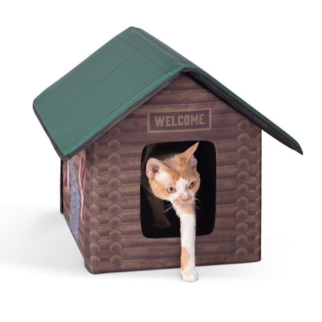 "K&H Unheated Outdoor Kitty House Log Cabin Design Cat Bed, 18"" L X 22"" W - Carousel image #1"