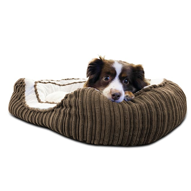 """Pure Comfort Brown Corduroy Oval Cuddler for Dogs, 20"""" L X 30"""" W X 8"""" H - Carousel image #1"""