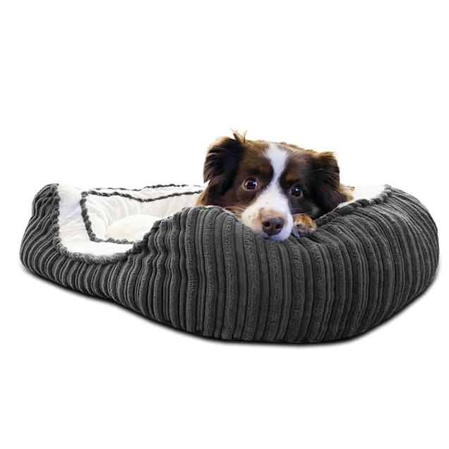 """Pure Comfort Grey Corduroy Oval Cuddler for Dogs, 20"""" L X 30"""" W X 8"""" H - Carousel image #1"""
