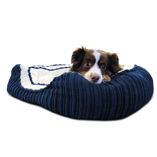 """Pure Comfort Blue Corduroy Oval Cuddler for Dogs, 20"""" L X 30"""" W X 8"""" H - Carousel image #1"""