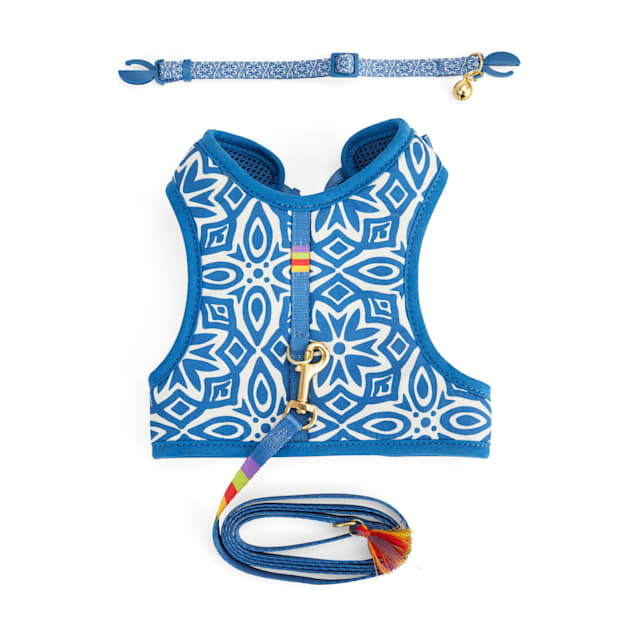 YOULY The Bohemian Blue Mosaic Cat Collar, Leash & Harness Set, Small/Medium - Carousel image #1