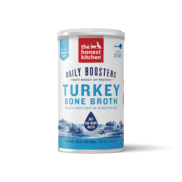 The Honest Kitchen Daily Boosters: Instant Turkey Bone Broth with Turmeric Wet Dog Food, 3.6 oz. - Carousel image #1