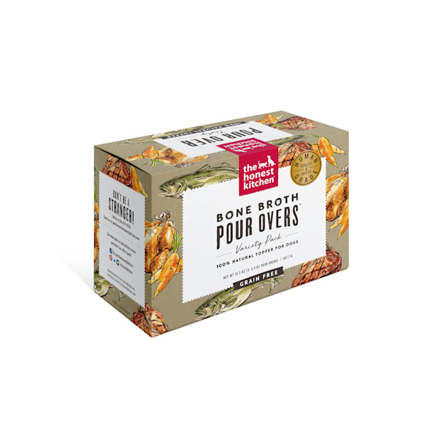 The Honest Kitchen Bone Broth Pour Overs: Variety Pack Wet Dog Food Topper, 5.5 oz. - Carousel image #1