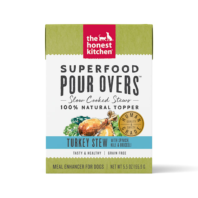 The Honest Kitchen Superfood Pour Overs: Turkey Stew with Spinach, Kale & Broccoli Wet Dog Food, 5.5 oz., Case of 12 - Carousel image #1