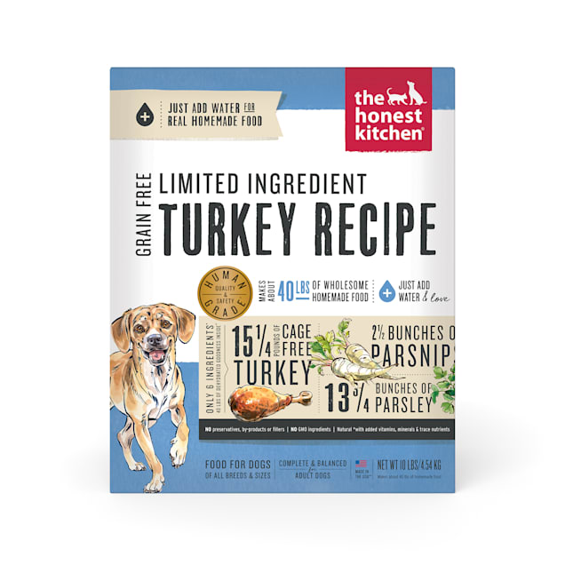 The Honest Kitchen Dehydrated Limited Ingredient Turkey Recipe Dog Food, 10 lbs. - Carousel image #1