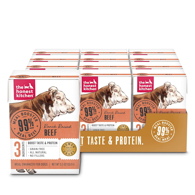 The Honest Kitchen Meal Booster: 99% Beef Wet Dog Food Topper, 5.5 oz., Case of 12 - Carousel image #1