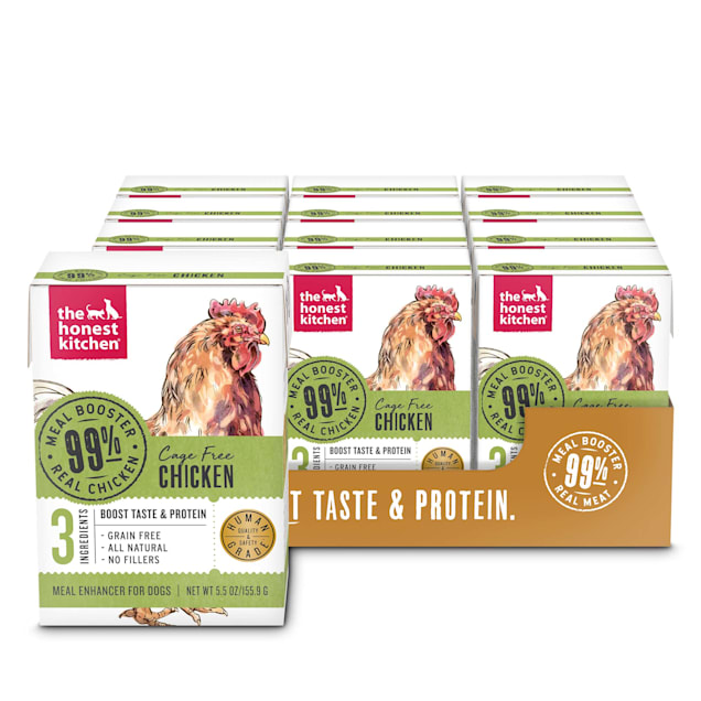 The Honest Kitchen Meal Booster: 99% Chicken Wet Dog Food Topper, 5.5 oz., Case of 12 - Carousel image #1