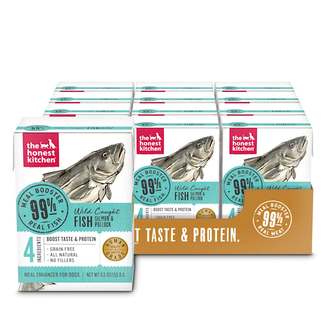 The Honest Kitchen Meal Booster: 99% Salmon & Pollock Wet Dog Food Topper, 5.5 oz., Case of 12 - Carousel image #1
