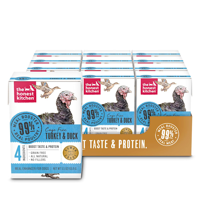 The Honest Kitchen Meal Booster: 99% Turkey & Duck Wet Dog Food Topper, 5.5 oz., Case of 12 - Carousel image #1