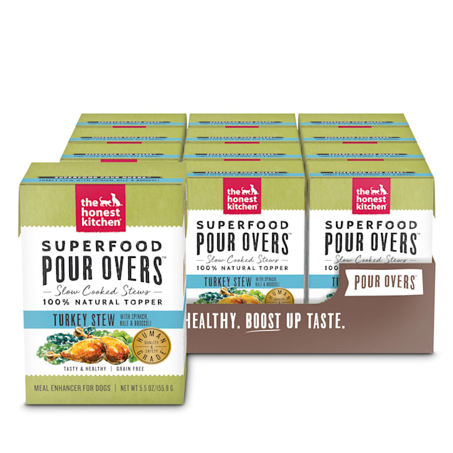 The Honest Kitchen Superfood Pour Overs: Turkey Stew with Spinach, Kale & Broccoli Wet Dog Food Topper, 5.5 oz., Case of 12 - Carousel image #1