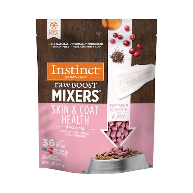 Instinct Frozen Raw Boost Mixers Grain-Free Skin & Coat Health Recipe Dog Food, 1.25 lbs. - Carousel image #1