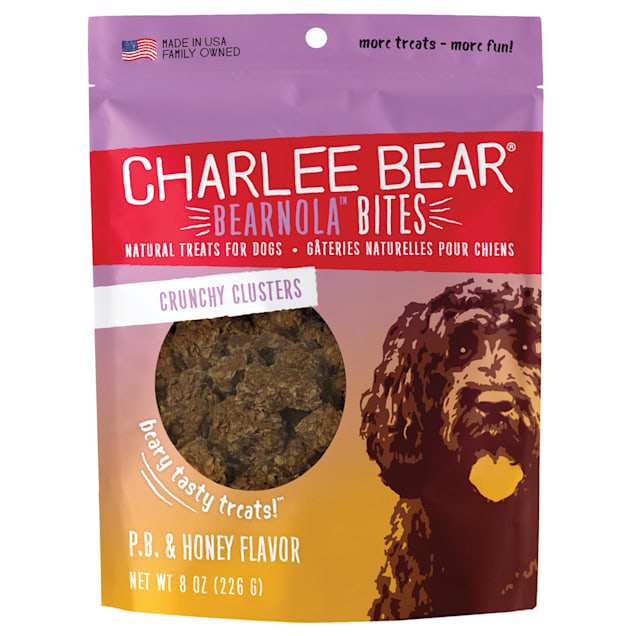 Charlee Bear Bearnola Bites Natural Peanut Butter & Honey Crunchy Cluster Treats for Dogs, 8 oz. - Carousel image #1