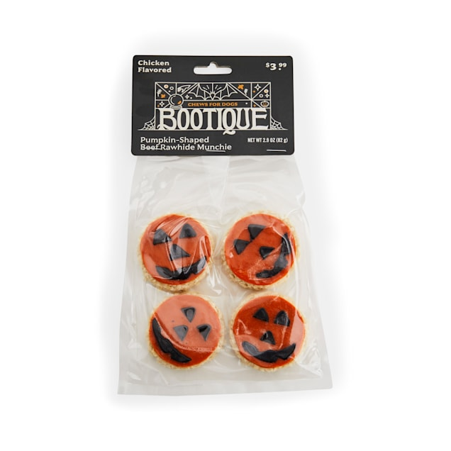 Bootique Pumpkin-shaped Beef Rawhide Munchie Chews for Dogs, 2.9 oz., Count of 4 - Carousel image #1