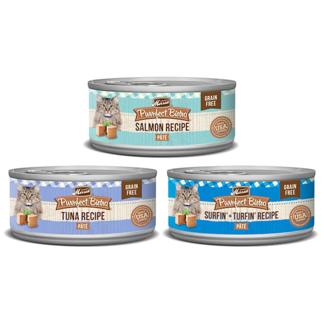 Merrick Purrfect Bistro Grain Free Seafood Recipes Wet Cat Food Variety Pack, 5.5 oz., Count of 24 - Carousel image #1