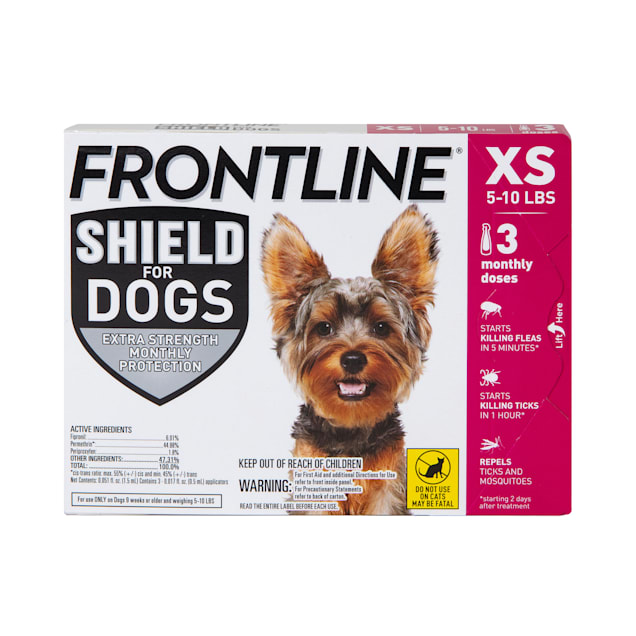 FRONTLINE Shield Flea & Tick Treatment for X-Small Dogs 5-10 lbs., Count of 3 - Carousel image #1
