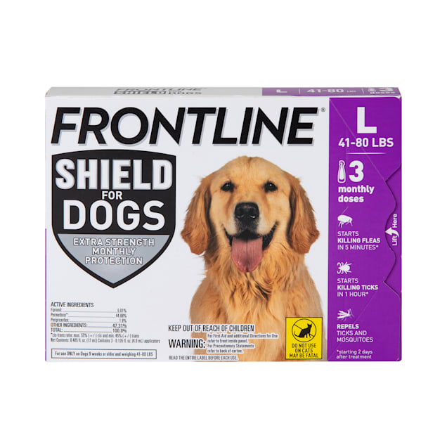 FRONTLINE Shield Flea & Tick Treatment for Large Dogs 41-80 lbs., Count of 3 - Carousel image #1
