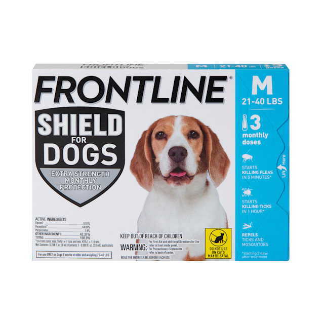 FRONTLINE Shield Flea & Tick Treatment for Medium Dogs 21-40 lbs., Count of 3 - Carousel image #1
