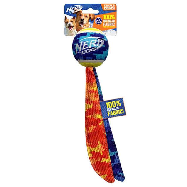 Nerf Nylon Crinkle Camo 2-Tail Tennis Ball Dog Toy, Medium - Carousel image #1