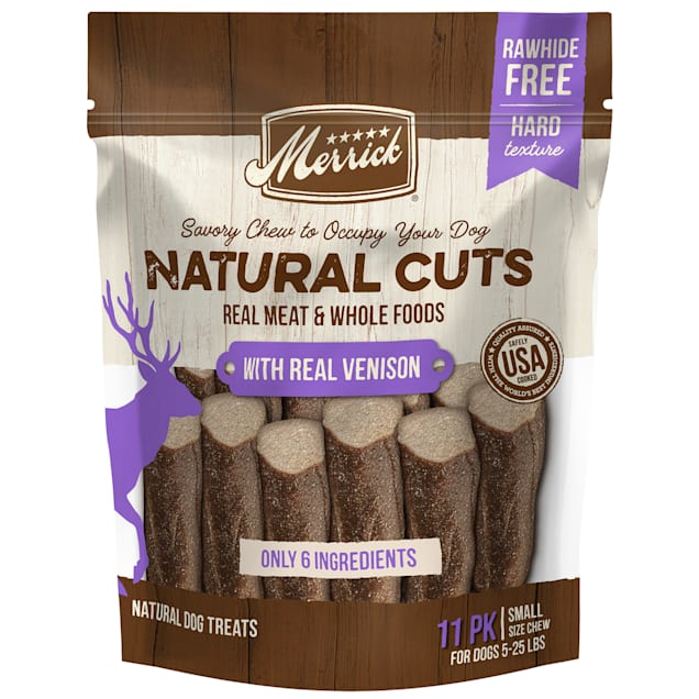 Merrick Natural Cuts Rawhide Free Small Chew with Real Venison for Dogs, 8.4 oz., Count of 11 - Carousel image #1
