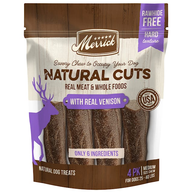 Merrick Natural Cuts Rawhide Free Medium Chew with Real Venison for Dogs, 10 oz., Count of 4 - Carousel image #1