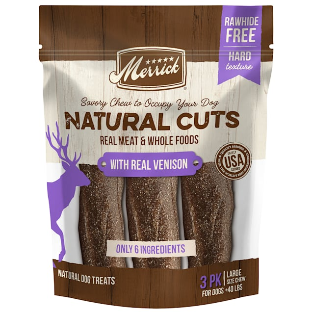 Merrick Natural Cuts Rawhide Free Large Chew with Real Venison for Dogs, 10.9 oz., Count of 3 - Carousel image #1