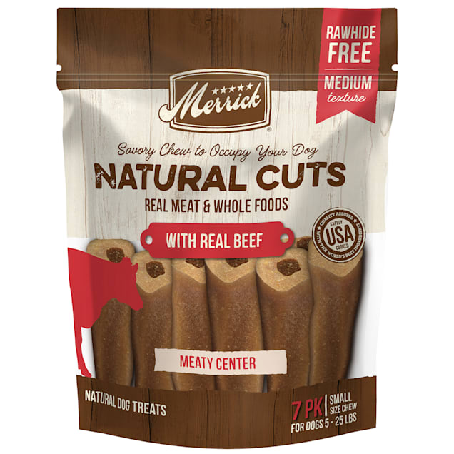 MERRICK NATURAL CUTS Rawhide Free Small Filled Chew with Real Beef for Dogs, 10.5 oz., Count of 7 - Carousel image #1