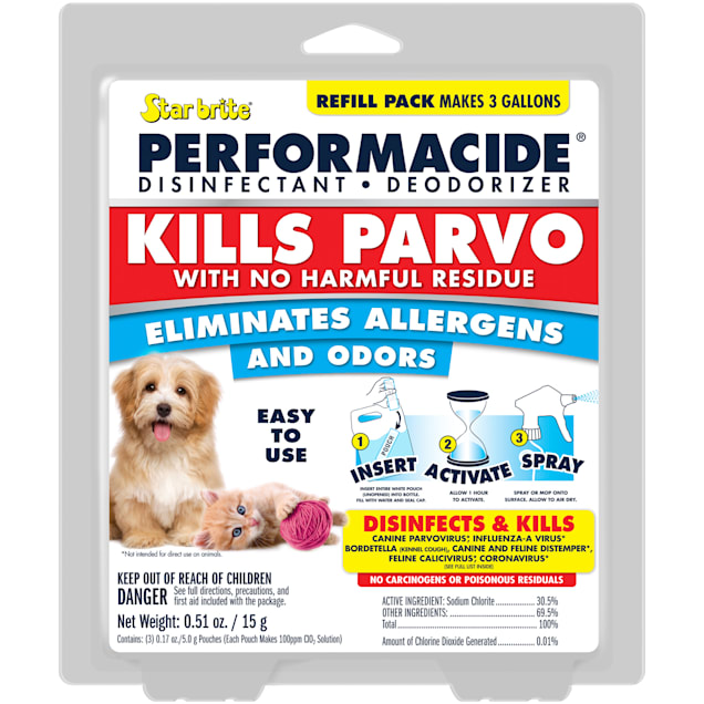 PERFORMACIDE STARBRITE Kills Parvo Disinfectant Refill Pouches for Dogs, 1 Gallon, Pack of 3 - Carousel image #1