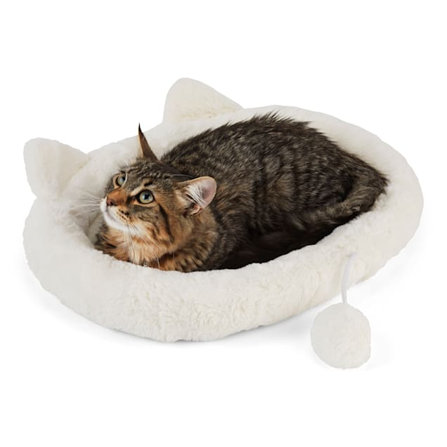 """EveryYay Snooze Fest Ivory Cat Head Oval Snuggler Bed, 17"""" L X 14"""" W X 2"""" H - Carousel image #1"""